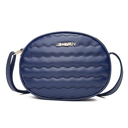 femmes poitrine mode bandoulière à en motif sac de cuir pur couleur sac Messenger vague ESAILQ Bleu 6Tnqdwf6