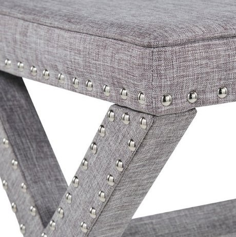 ModHaus Living Contemporary Linen Fabric Upholstered 17 Inch Bench Ottoman Vanity Stool with X Legs and Silver Nailhead - Includes Pen (Gray)