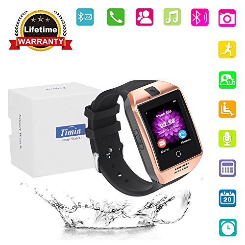 Smart Watch, Bluetooth Touch Screen Smartwatches Support SIM/TF Card Camera Pedometer Sleeping Monitor Facebook Whatsapp Sports Fitness Tracker For Android Phones Samsung Huawei Sony et (Gold black)