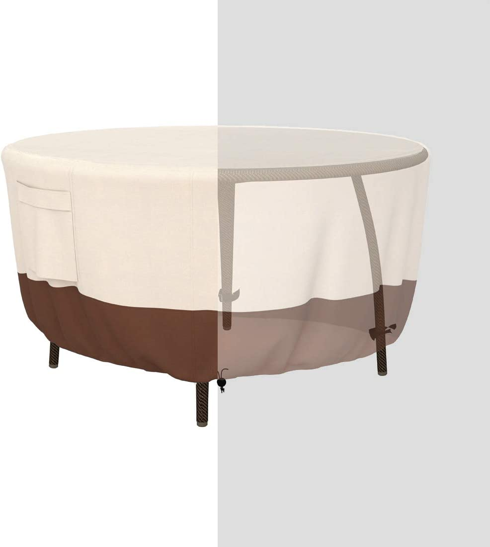Tuyeho Patio Round Table Cover Dia 48 x 26 inch, 600D Heavy Duty Outdoor Dining Table Cover, Waterproof & Weather Resistant for Your Furniture Set (Beige & Brown)