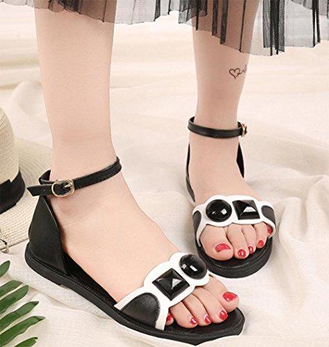 sandalias femeninas abrochan los zapatos planos de las sandalias romanas de las mujeres Black