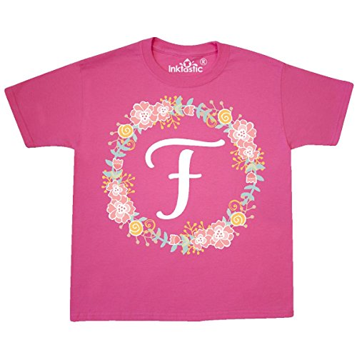 (inktastic - F Monogram Alphabet Youth T-Shirt Youth Small (6-8) Neon Pink 309ad)