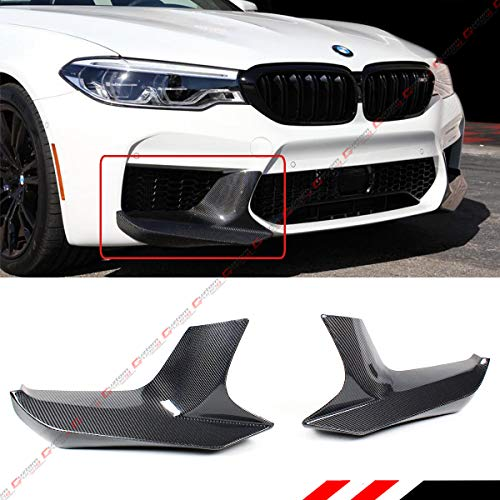 (Fits For 2018-2019 BMW F90 M5 Carbon Fiber 2pc Performance Style Front Bumper Splitters)