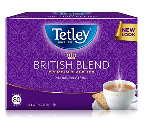 - Tetley British Blend Premium Black, 80-Count Tea Bags, 7 Ounce, (Pack of 6)