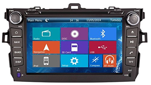 8 Inch Touchscreen Monitor Car GPS Navigation System for TOYOTA COROLLA 2006 2007 2008 2009 2010 2011 Car Stereo DVD Player+Free Backup Rear View Camera+Free US Map by Indiny
