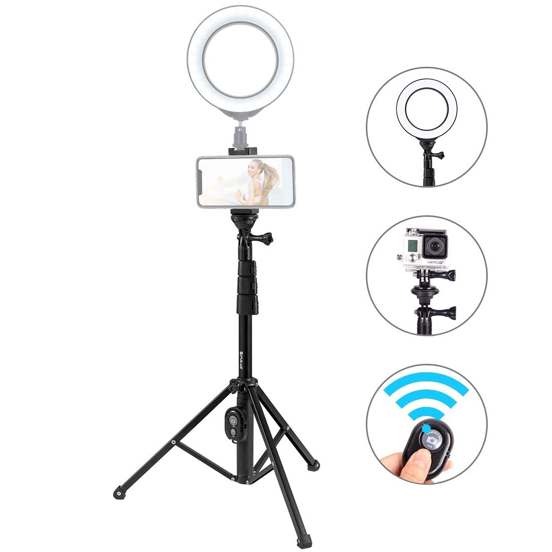 XIAOMIN Bluetooth Shutter Remote Selfie Stick Tripod Mount Holder for Vlogging Live Broadcast Premium Material by XIAOMIN