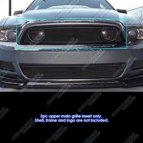 APS Fits 2013-2014 Ford Mustang GT Black Main Upper Billet Grille Insert (Mustang Upper Grille)