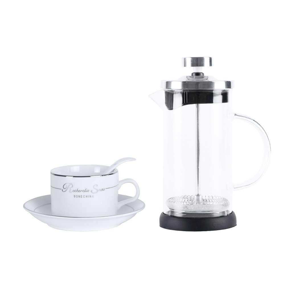 French Press Coffee Maker 4 Level Filtration System, 304 Grade Stainless Steel, Heat Resistant Borosilicate Glass Tea Maker