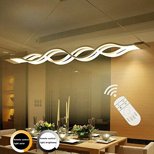 Ziplighting Modern Pendant Lighting Acrylic Stepless Dimmable Transitional Chandelier Led Dimming Ceiling Lamp Minimalist Wave Hanging Light Contemporary Living Dining Room Kitchen Island with Remote