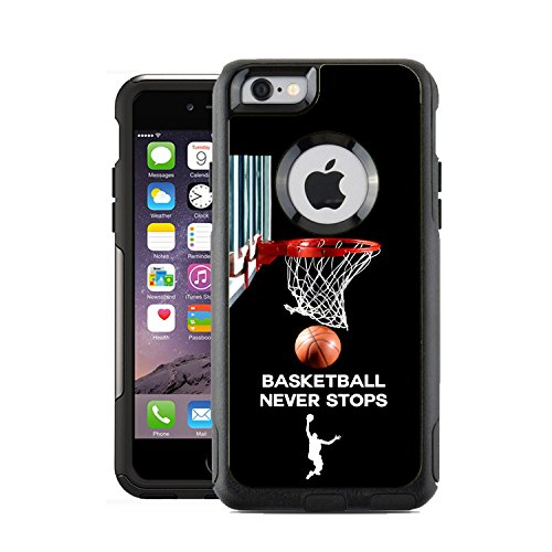 Protective Designer Vinyl Skin Decals / Stickers for OtterBox Commuter iPhone 6 PLUS / 6S PLUS Case Cover - Basketball Never Stops design patterns - Only SKINS and NOT Case- by [TeleSkins]