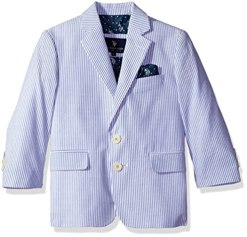 U.S. POLO ASSN. Big Boys' Cotton Sport Coat, Blue Seersucker, 8 (Jacket Seersucker Cotton)