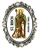 St Roch Patron of Dogs Huge 2'' Antique Silver Pin Brooche