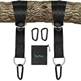FeiYen Tree Swing Straps Hanging Kit - 5FT Hang Strap x 2 Hold Max 2200 LB - 2 x Heavy Duty Carabiners - Great Kits for Tire Swing and Saucer Swing - Camping Hammock Accessories - Carry Bag Included