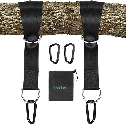 FeiYen Tree Swing Straps Hanging Kit - 5FT Hang Strap x 2 Hold Max 2200 LB - 2 x Heavy Duty Carabiners - Great Kits for Tire Swing and Saucer Swing - Camping Hammock Accessories - Carry Bag Included by FeiYen