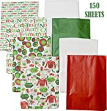 Splendid Designs Christmas Printed Tissue Paper, 150 Sheets, Red, Green, White and Holiday Prints