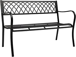 Garden Benches for Outdoors Garden Bench, Metal Park Bench Cast-Aluminum Outdoor Benches Front Porch Outdoor Furniture for Patio, Park, Lawn, Yard Outdoor Benches