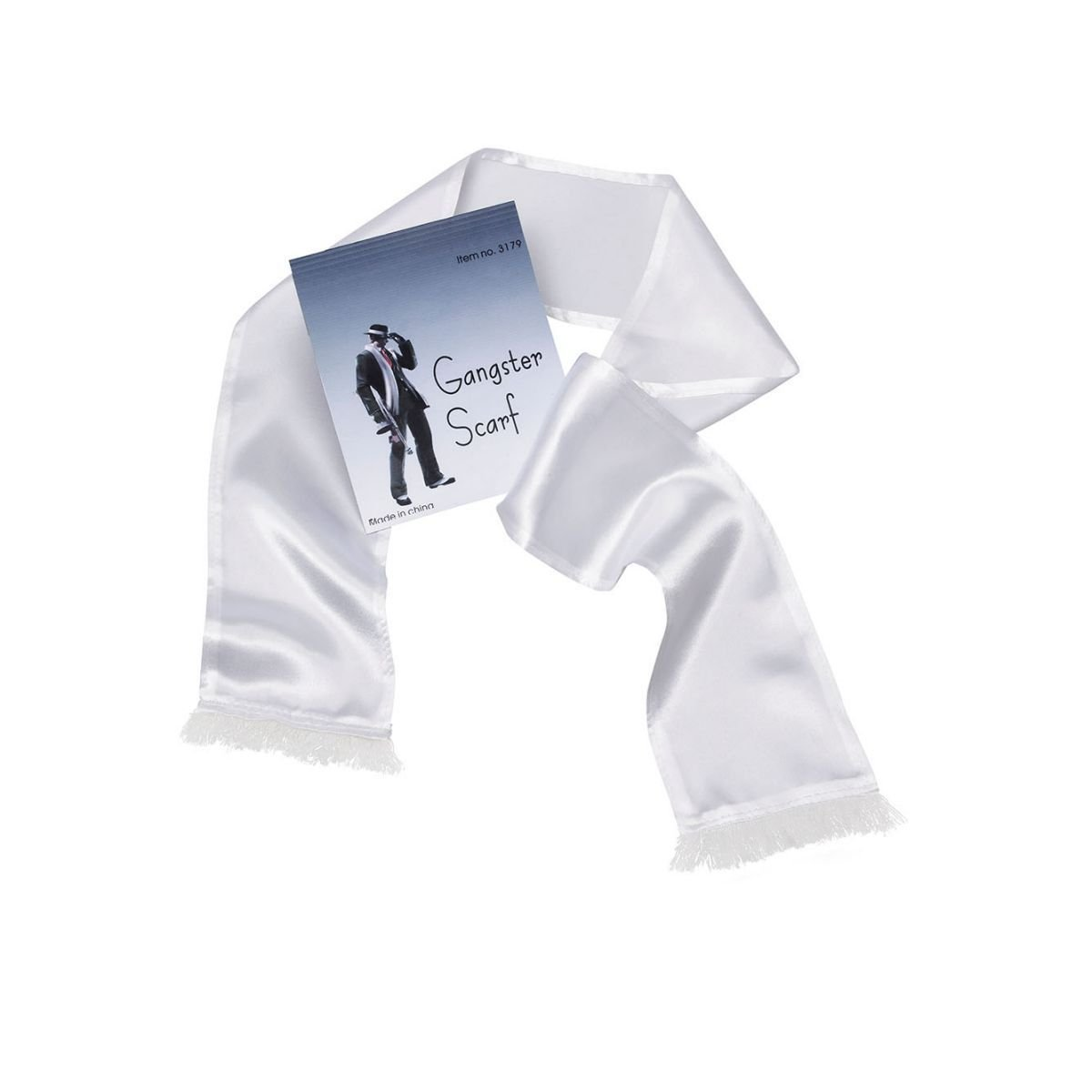 White Satin Gangster Scarf Bristol Novelty BA249