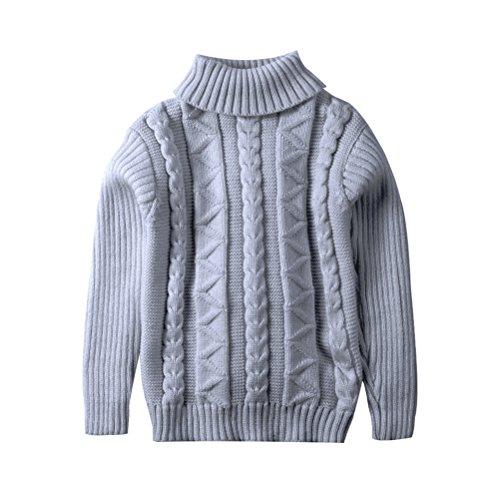 Kids Turtles Neck Warmer (UWESPRING Little Girl Solid Winter Warm Turtleneck Knitted Sweaters 6T Grey)