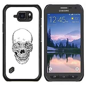 EJOOY---Cubierta de la caja de protección para la piel dura ** Samsung Galaxy S6Active Active G890A ** --Cráneo de la muerte del motorista de la cuadrilla blanca Lápiz