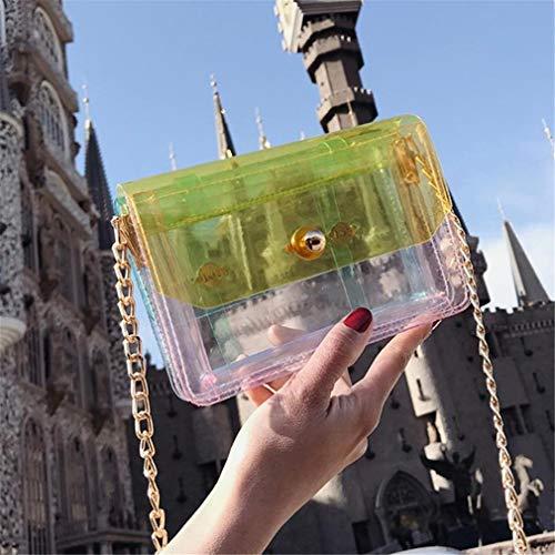 Cadena Bolsa la Yellow Bolso de Aleta del Green de Transparente de la Mini de de Mujeres Las Mensajero PVC wqIISXA5a