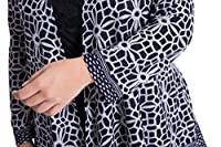 Chicwe Women's Plus Size Cashmere Touch Floral Printed Cardigan Style Jacket - Open Front Casual Jacket