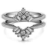Sterling Silver Vintage Fan Style Ring Guard with Millgrained Edges and Filigree Design with Cubic Zirconia (0.43 ct. tw.)