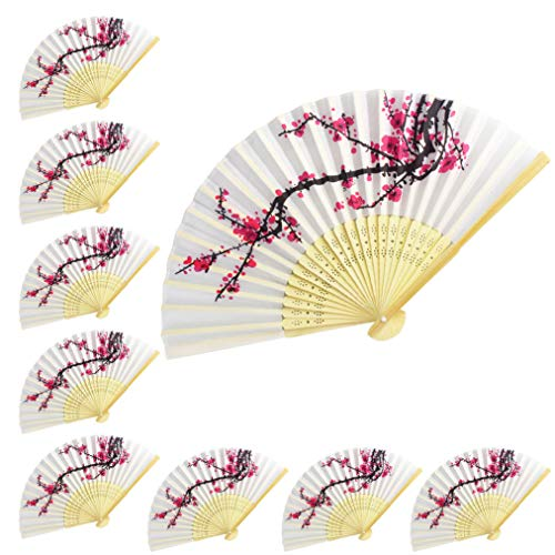 Lee-buty 10 pcs Delicate Plum Blossom Design Silk Folding Hand Fan Decorative Folding Fans for Wall Decoration, Church Wedding Gift, Party Favors, DIY Decoration