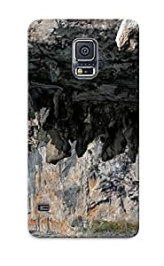 Yellowleaf Durable Climbing Men Males Muscle Hang Extreme Cliff Rocks Ocean Sea Water Landscape Nature Rope Sky Clouds Scenic Back Case/ Cover For Galaxy S5 For Christmas