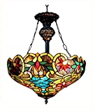 Chloe Lighting CH1A674VB18-UH2 Leslie Tiffany Style Victorian 2 Light Inverted Ceiling Pendent with 18-Inch Shade - Multi Colored