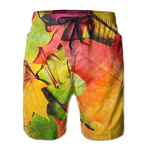DUO-s colorful Leaves Men's Beach Shorts With Pockets Quick Dry Summer Boardshort Shorts Swim Trunks Decadent Duo
