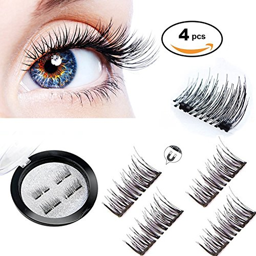 3d Magnet (Magnetic Eyelashes 3D Reusable Fake Dual Magnet Eyelashes,Ultra Thin No Glue 0.2mm False Lashes Natural Looking and Handmade(1Pair 4Pcs))