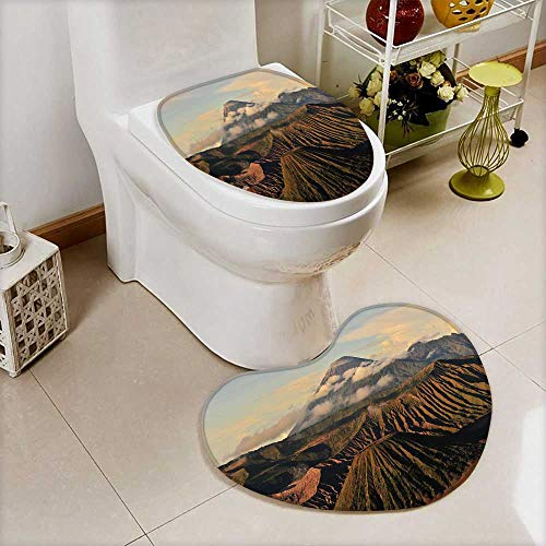 Bathroom Non-Slip Heart shaped foot pad Set Volcano Mountain Landscape of Mount Bromo at Indonesia Personalized Durable by also easy