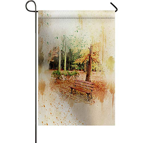 (DCGARING Home Decorative Double Sided Watercolor Park Tree Bench Garden Flag House Yard Flag Garden Yard Decorations Home Seasonal Outdoor Flag 12''x18'')
