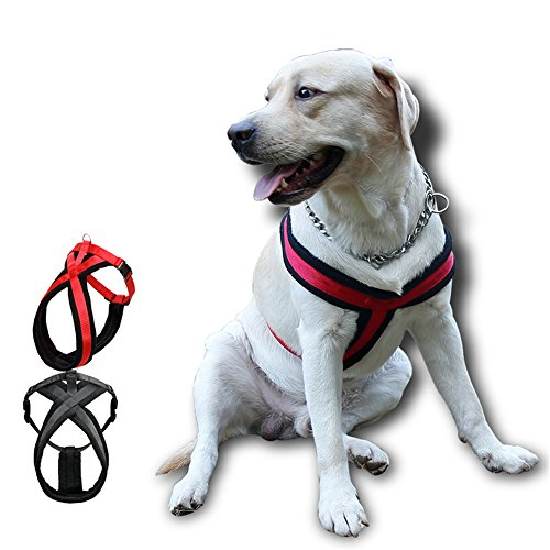 Fleece Harness (NACOCO Large Dog Harness Pet Walking Harness with Comfortable Fleece Padded (X-Large, Red))