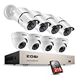 ZOSI Security Camera System 8-Channel 1080P Video DVR Recorder with (8) 2.0MP Indoor/Outdoor Weatherproof CCTV Cameras 2TB Hard Drive,Motion Alert, Smartphone, PC Easy Remote Access Review