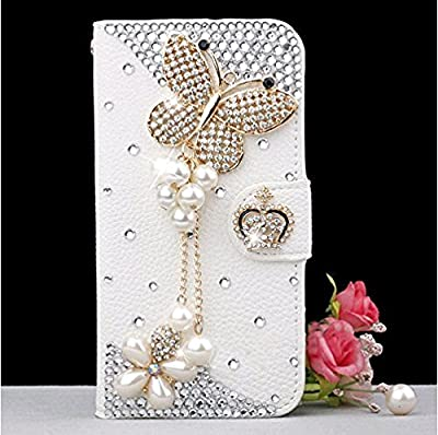 iPhone 6 Plus Case, LA GO GO(TM) Luxury 3D Bling Handmade Glitter Rhinestone Pearl Leather Flip Wallet Purse Card Pouch Stand Protective Case for Apple iPhone 6 Plus (5.5 inch) by LA GO GO