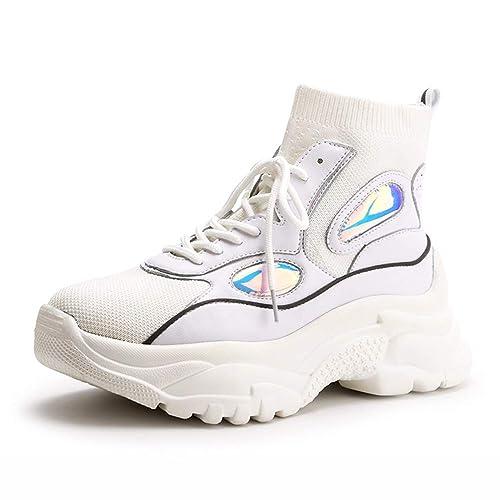 Plataforma de Mujer Zapatos de tacón Alto Zapatillas Altas Botines con Brillo Zapatillas Gruesas al Aire Libre con Cordones Zapatos Casuales Zapatos ...