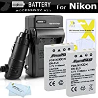 2 Pack Battery And Charger Kit For Nikon P100 P500 P510 P520 P530 Digital Camera Includes 2 Extended (1100 Mah) Replacement Nikon EN-EL5 Batteries + AC/DC Rapid Charger + Screen Protectors + Cloth