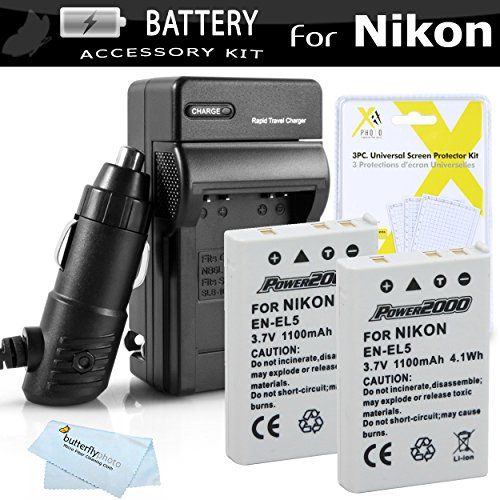 2 Pack Battery And Charger Kit For Nikon P100 P500 P510 P520 P530 Digital Camera Includes 2 Extended (1100 Mah) Replacement Nikon EN-EL5 Batteries + AC/DC Rapid Charger + Screen Protectors + Cloth ()