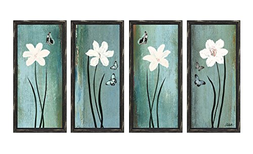 Dzhan Wall Art Framed Canvas Prints Framed Set of 4 Butterfly Flower Blue Oil Paintings Wood Frames with Hooks to Hang for Living Room Home Decorations (14 x 31 Inch) Painting Art Print Set