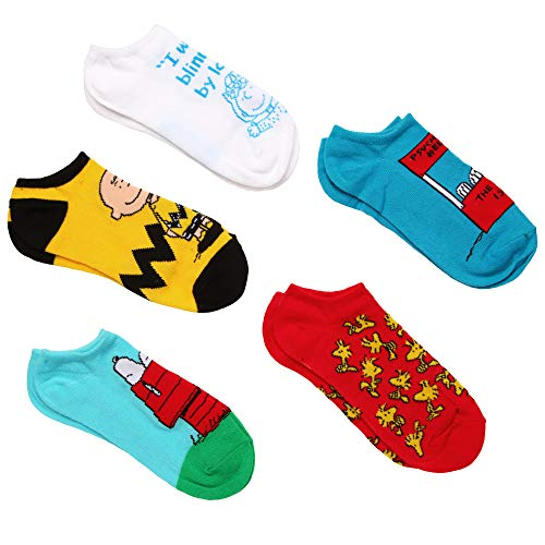 Peanuts Snoopy 5 Pk No Show Socks Size 9-11 Unisex -