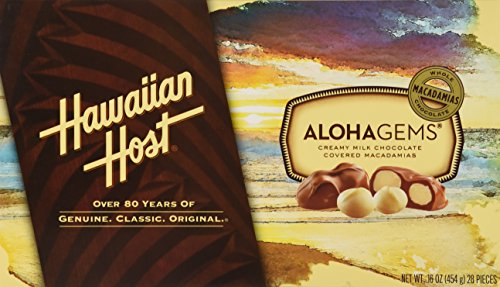 Hawaiian Host Aloha Gems Creamy Milk Chocolate Covered Macadamia Nuts, 16 oz. (2 Pack)