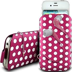 N4U Online - BlackBerry 9720 PU de protección de diseño polka cordón de cuero lengüeta de tracción antideslizante en caso de la bolsa con cierre rápido y 3.5mm Auriculares ergonómicos - Rosado