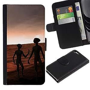 Paccase / Billetera de Cuero Caso del tirón Titular de la tarjeta Carcasa Funda para - Aliens On Mars - Apple Iphone 5 / 5S