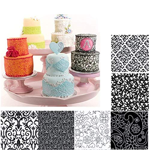 Fyuan Plastic Floral Fondant Texture Sheet Set DIY Tool for Decorate Cookies,Cupcakes, or Create Accents for Cakes, Set of 6