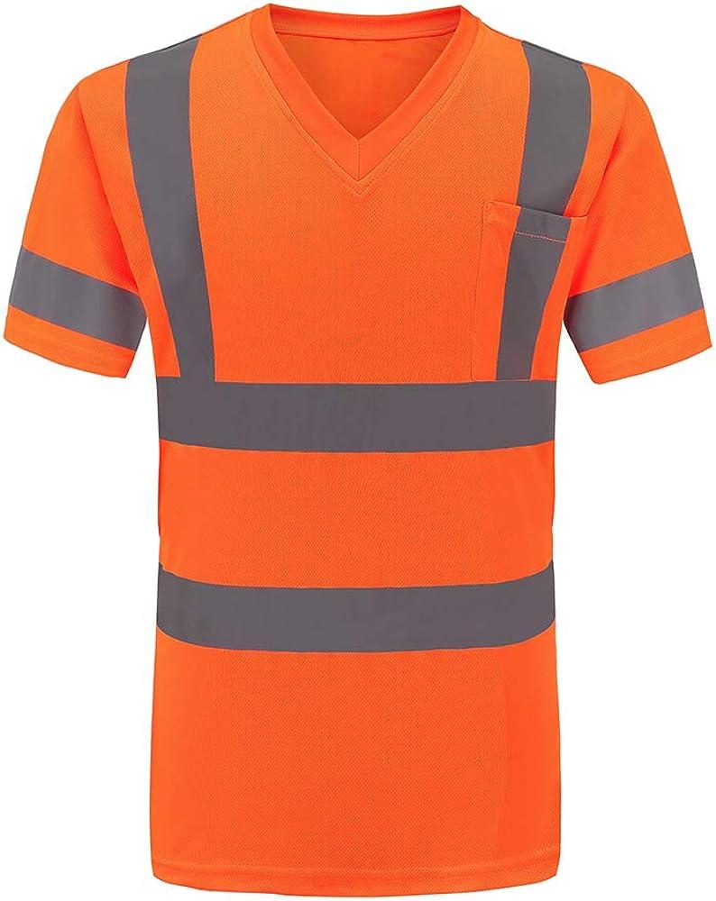 AYKRM Hi Viz Safety Work Wear High Visibility V Neck T-Shirt