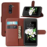 LG K7 Case, LG Tribute 5 Case, Fettion Premium PU Leather Wallet Phone Cases Flip Cover with Stand Card Holder for LG K7, LG Tribute 5 Smartphone (Wallet - Brown)
