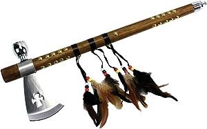 "Wuu Jau Co L-111 Native American Peace Pipe Tomahawk Axe, 18"""