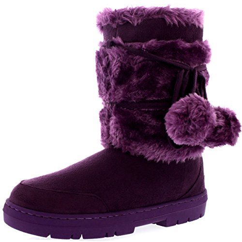 Image of Holly Womens Pom Pom Waterproof Winter Snow Boots