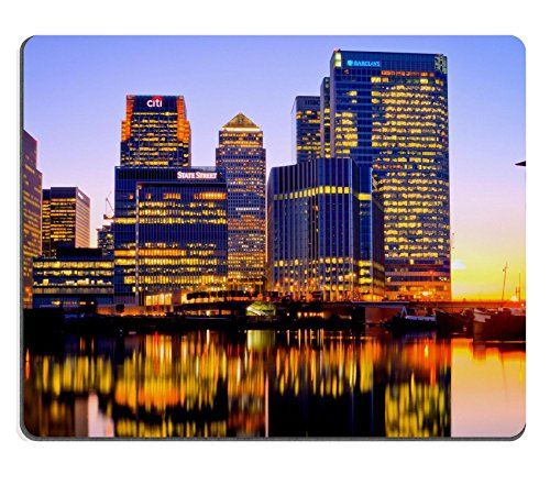 MSD Mouse Pad Natural Rubber Mousepad IMAGE of city skyline skyscraper night architecture downtown cityscape modern water usa river urban business tower - Water Tower Downtown
